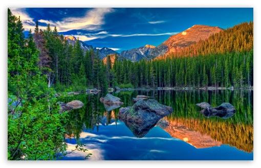 Download Mountain Lake Daytime UltraHD Wallpaper