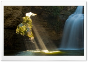 Limestone Cave And Waterfall,...