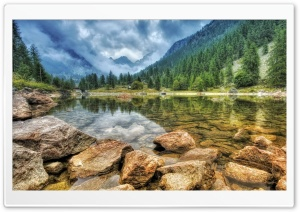 Mountains Stones Landscape Lake