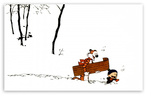 Download Calvin And Hobbes, Winter UltraHD Wallpaper