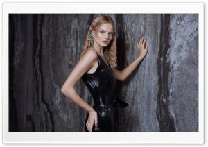 Blonde Girl Model in a Black...