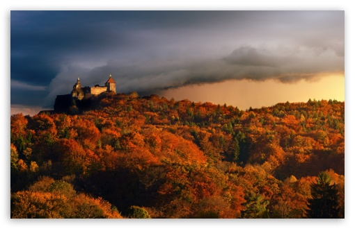 Download Castle, Forest, Autumn, Approaching Storm UltraHD Wallpaper