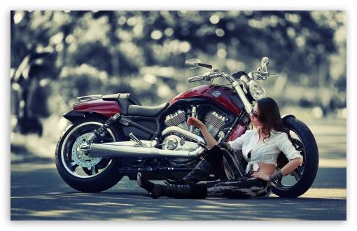 Download Girl Motorcycle UltraHD Wallpaper