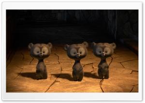 Brave Triplet Bear Cubs