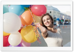 Colorful Balloons, Happy Girl...