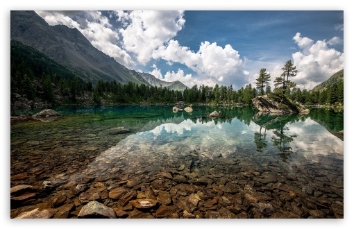 Download Cristal Clear Mountain Lake UltraHD Wallpaper