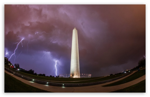 Download Washington Monument, Thunderstorm UltraHD Wallpaper