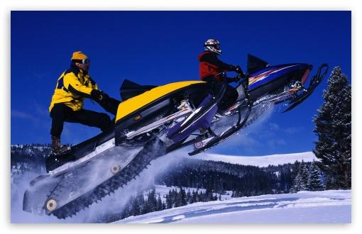 Download Snowmobile Jump UltraHD Wallpaper