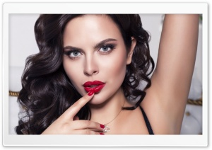 Brunette Girl With Red Lips