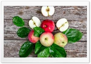 Fresh Apples, Leaves, Wooden
