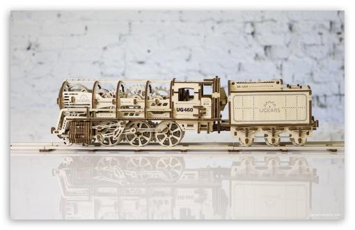 Download Model Steam Locomotive with Tender Ugears 460 UltraHD Wallpaper