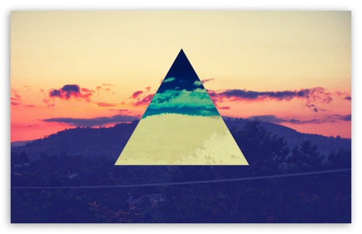 Download Sunset Inverted Colour Triangle UltraHD Wallpaper