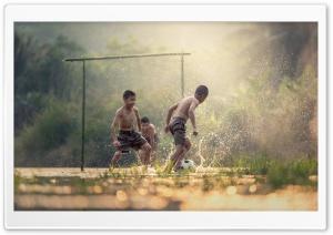 Asian Kids Playing Soccer