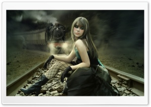 Girl On Rail Tracks Painting
