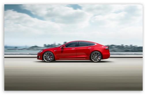 Download Red Tesla Model S Electric Car Speed UltraHD Wallpaper