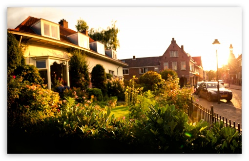 Download Sunset In Tuindorp, Hengelo, The Netherlands UltraHD Wallpaper