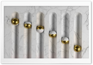 White Marble and Gold Balls