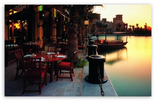 Download Outdoor Restaurant At Sunset UltraHD Wallpaper