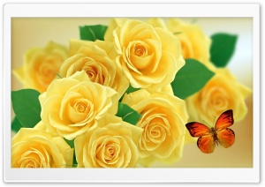 Yellow Roses and Butterflies