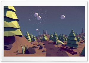 Low Poly Pine Trees Landscape