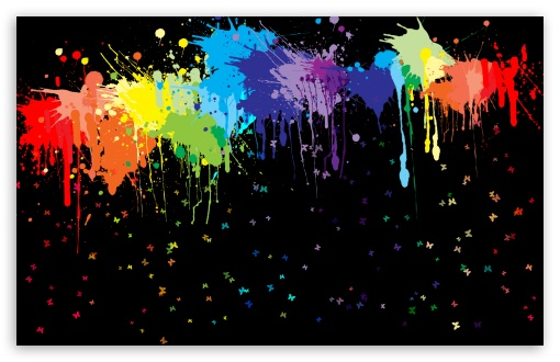 Download Colorful Splashs Black UltraHD Wallpaper