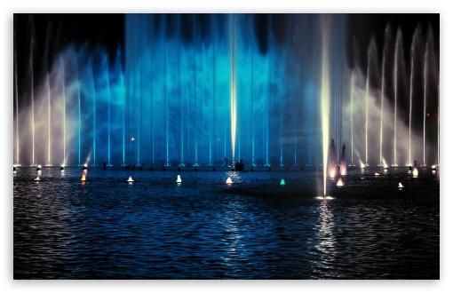 Download Fountain, Night UltraHD Wallpaper