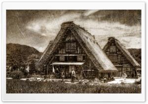 Shirakawago Farmhouse Woodblock