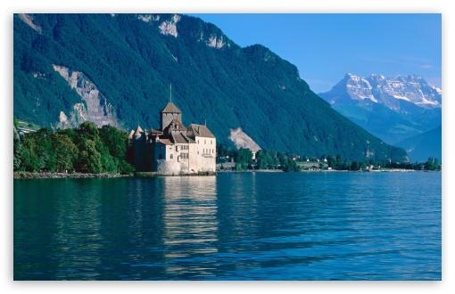 Download Chillon Castle And The Alps UltraHD Wallpaper