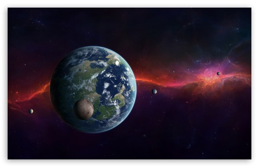 Download Earth, Moon And Other Planets UltraHD Wallpaper
