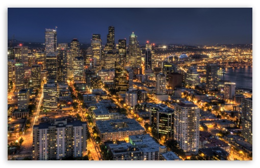 Download Seattle At Night From The Space Needle HDR UltraHD Wallpaper