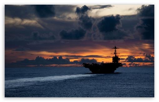Download Aircraft Carrier At Sunset UltraHD Wallpaper