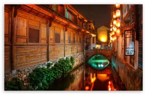 Download The Canals Of Lijiang At Night UltraHD Wallpaper
