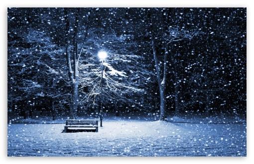 Download Snow Bench Lamppost UltraHD Wallpaper