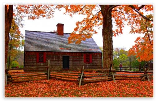 Download Autumn Cottage UltraHD Wallpaper