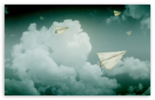 Download Paper Planes Flying In The Sky UltraHD Wallpaper