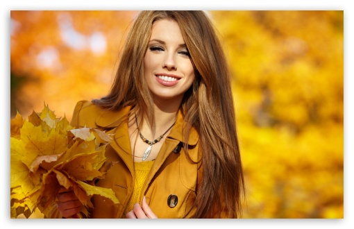 Download Girl With Autumn Leaves UltraHD Wallpaper
