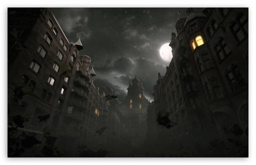 Download Dark City Autumn Scene UltraHD Wallpaper