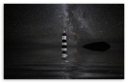 Download Penmon - Trwyn Du - Lighthouse, Milky Way... UltraHD Wallpaper