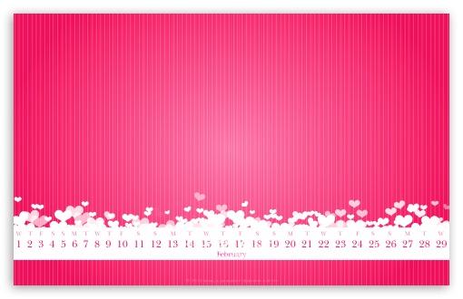 Download February 2012 Calendar (Pink) UltraHD Wallpaper