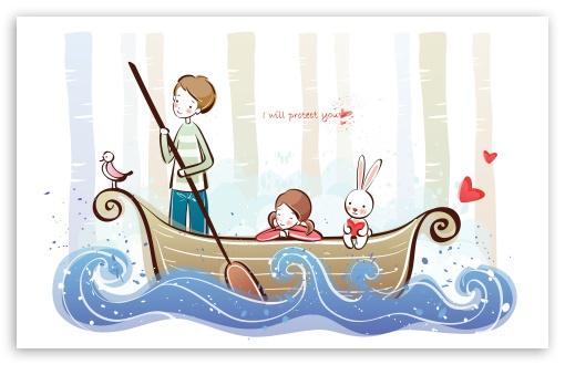 Download Cute Couple On A Boat UltraHD Wallpaper