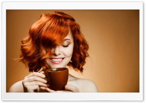 Red Haired Woman Drinking Coffee