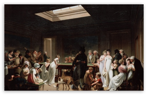 Download Game of Billiards Painting by Louis Leopold... UltraHD Wallpaper