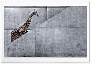 Giraffe Climbing Stairs