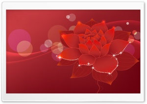 Red Water Lily Illustration