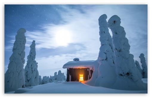 Download Wilderness Hut, Winter, Finland, Snowy Landscape UltraHD Wallpaper