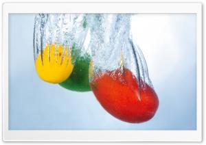 Fruits Splashing Into Water
