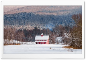 Red House, Snow, Winter,...