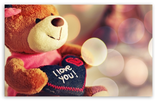 Download I love You Teddy Bear UltraHD Wallpaper
