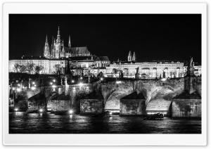 Prague at Night Black and White