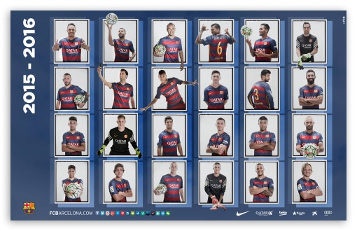 Download Barcelona Squad 2015-2016 Dekstop UltraHD Wallpaper
